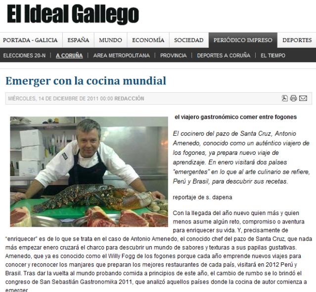 El cocinero del pazo en El Ideal Gallego
